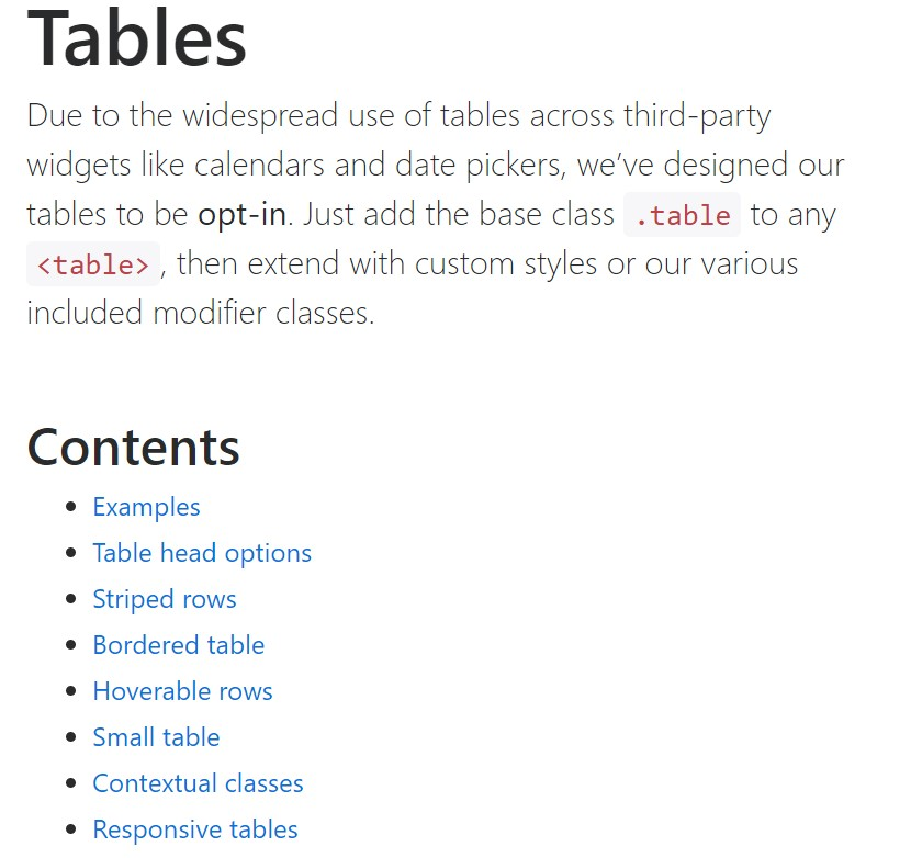 Bootstrap tables official  information