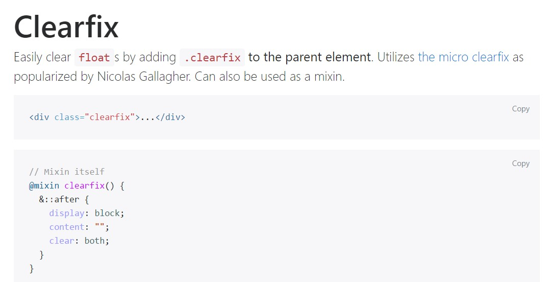 Bootstrap clearfix  approved  information