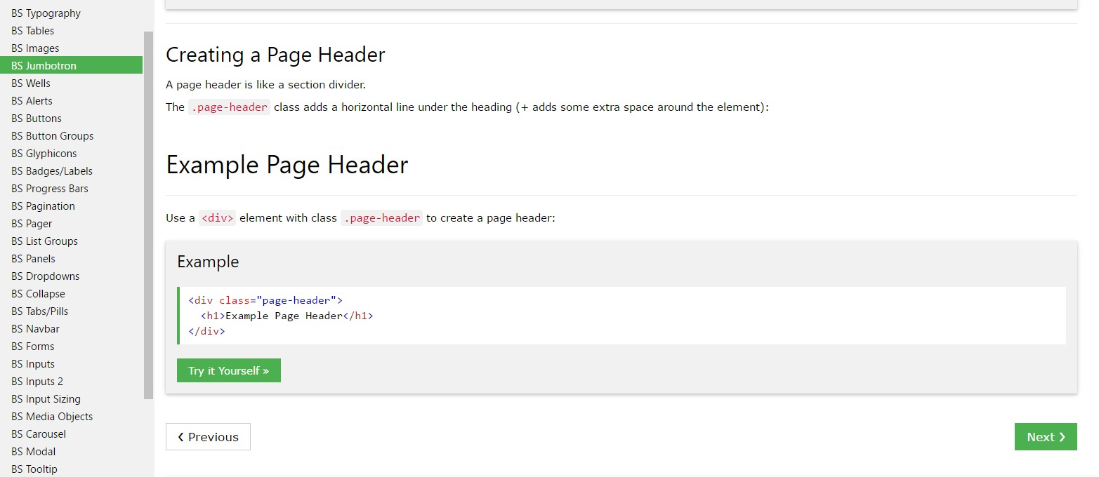 Bootstrap Header  guide
