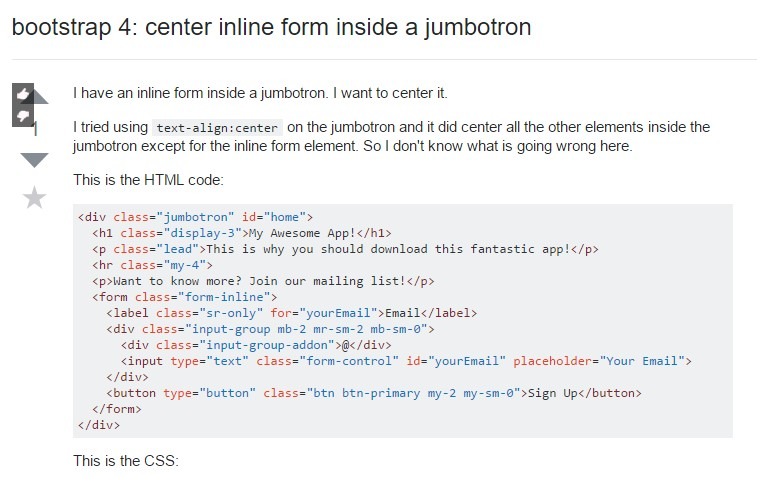 Bootstrap 4:  centralize inline form  within a jumbotron