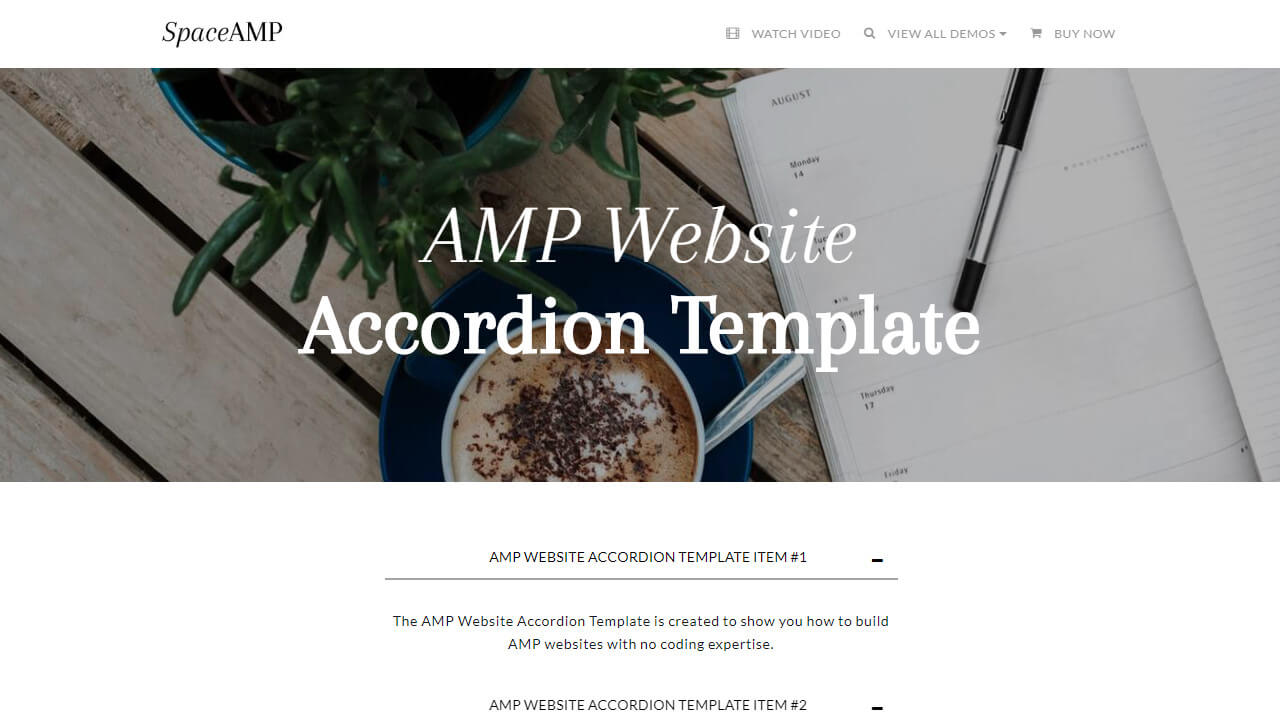 AMP Website Accordion Template