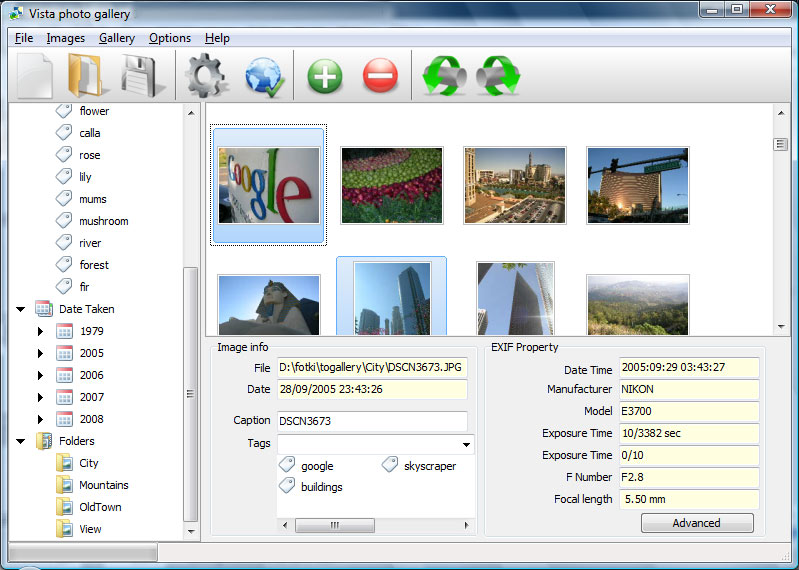 Vista Photo Gallery Screen shot